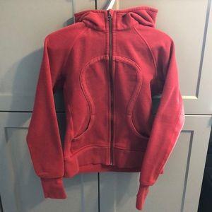 Red Lulu Lemon Zip Up Sweater
